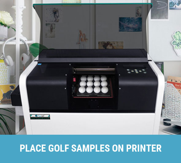 place golf samples on printer table