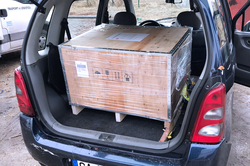 transporting printer in the back of the car